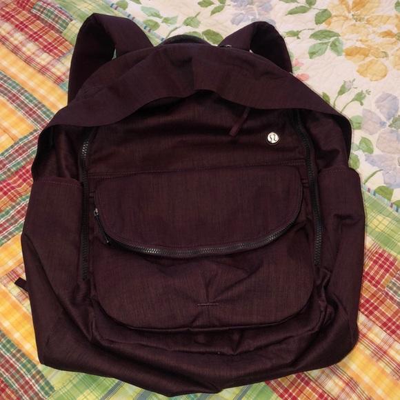 Lululemon burgundy backpack w/removable sm purse